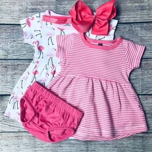 Hudson Baby 3m 4pc Summer Dress Set